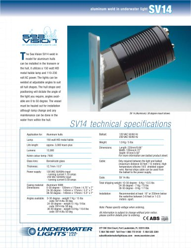 Sea Vision SV14 Alu Metal Halide Underwater Light