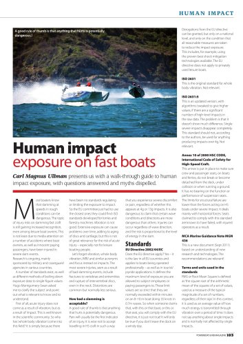Human impact exposure on fast boats