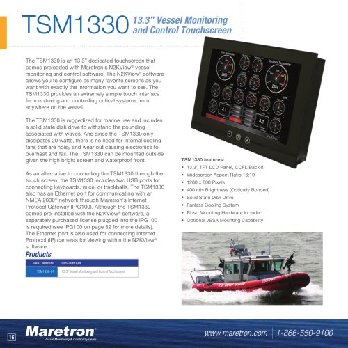 "TSM1330 13.3"" vessel monitoring and control touchscreen"