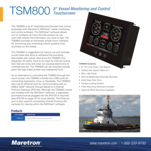 "TSM800 8"" vessel monitoring and control touchscreen"