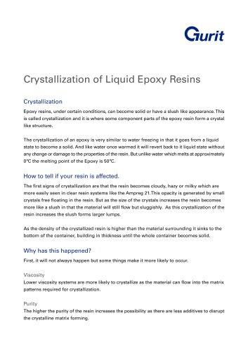 Crystallization of Liquid Epoxy Resins (Gurit)