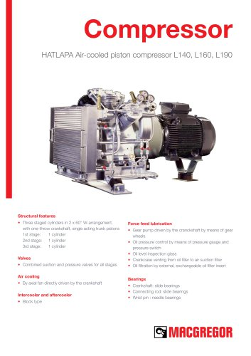 HATLAPA Air-cooled piston compressor L140, L160, L190