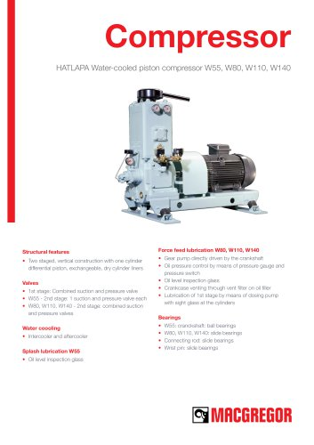 HATLAPA Water-cooled piston compressor W55, W80, W110, W140