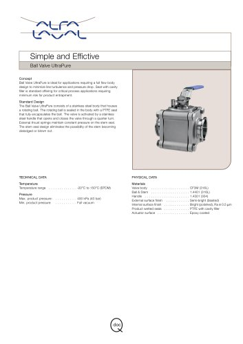 Ball valve UltraPure