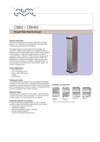 CB62 / CBH62 Brazed Plate Heat Exchanger