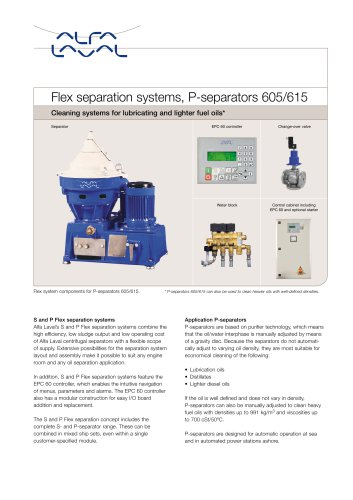 Oil cleaning : S & P Flexrange/P-Seperators 605-615