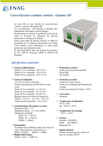 Gamme SD – 12/48/110V
