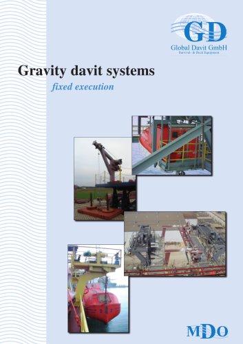 Gravity davit systems fixed execution