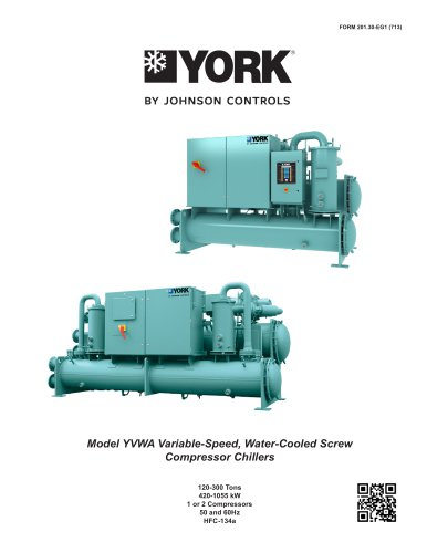 Model YVWA Variable-Speed, Water-Cooled Screw Compressor Chillers