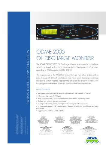 ODME 2005 Oil Discharge Monitor