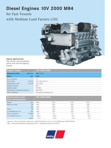 MTU Diesel Engines 10V 2000 M84 for Fast Vessels with Medium Load Factors (1D)