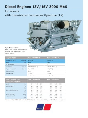 MTU Diesel Engines 12V/16V 2000 M60 for Vessels with Unrestricted Continuous Operation (1A)
