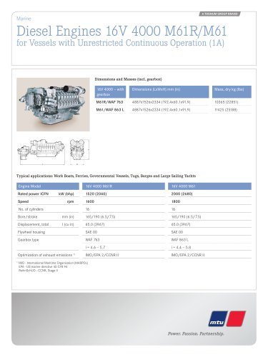 MTU Diesel Engines 16V 4000 M61R/M61 for Vessels with Unrestricted Continuous Operation (1A)