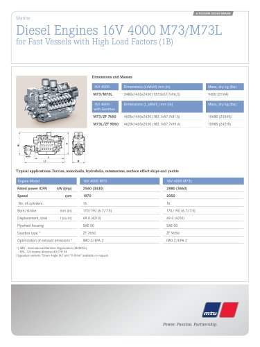 MTU Diesel Engines 16V 4000 M73/M73L for Fast Vessels with High Load Factors (1B)