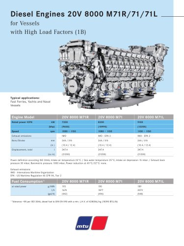 MTU Diesel Engines 20V 8000 M71R/71/71L for Vessels with High Load Factors (1B)