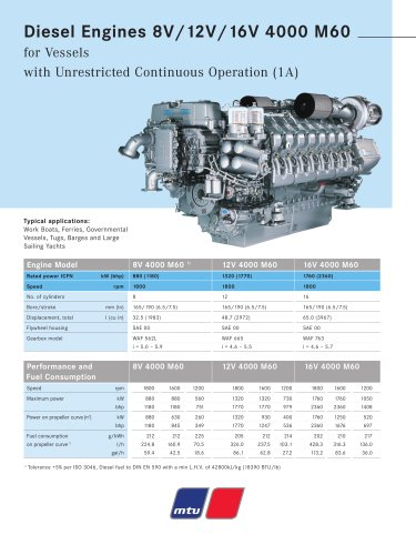 MTU Diesel Engines 8V/12V/16V 4000 M60 for Vessels with Unrestricted Continuous Operation (1A)