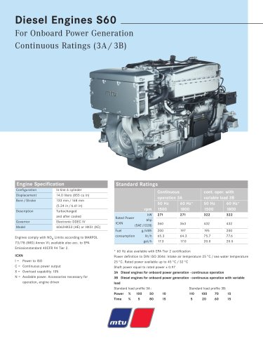 MTU Diesel Engines S60 For Onboard Power Generation Continuous Ratings (3A / 3B)