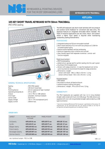 Industrial keyboard with 50mm laser trackball