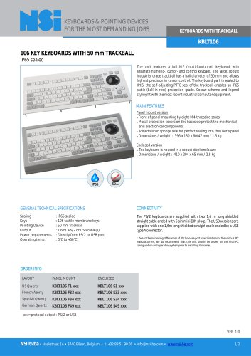 Industrial keyboard with 50mm trackball