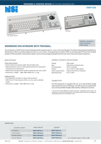 MEMBRANE IP65 KEYBOARD WITH TRACKBALL
