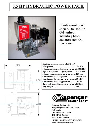 5.5 HP HYDRAULIC POWER PACK