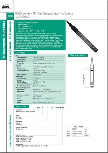 9600 Series - Slimline Groundwater Monitoring Transmitters