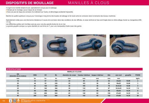 ÉLÉMENTS DE MOUILLAGE/MANILLES