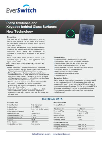 Piezo Switches and Keypads behind Glass Surfaces