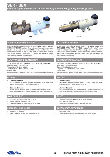 SBR-SBX AINGLE SCREW SELF-PRIMING ELECTRIC PUMPS