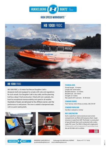 Hukkelberg Boats HB 1000 FRDC - product sheet