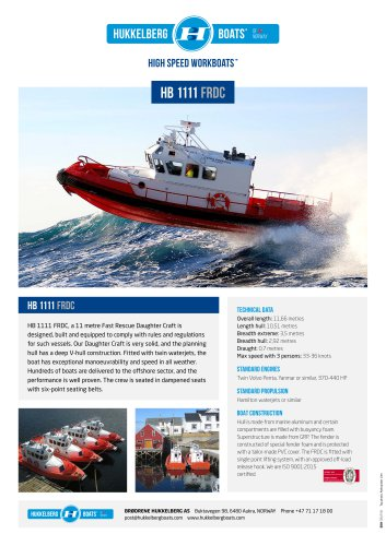Hukkelberg Boats HB 1111 FRDC - product sheet