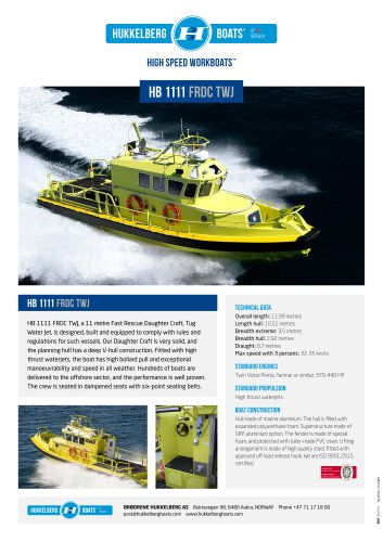 Hukkelberg Boats HB 1111 FRDC TWJ - product sheet