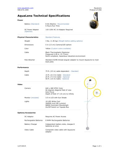 AquaLens Technical Specifications
