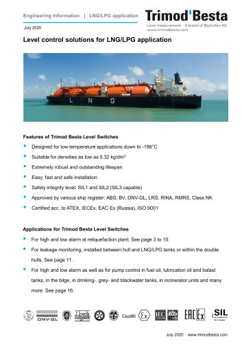 Level control solutions for LNG/LPG application